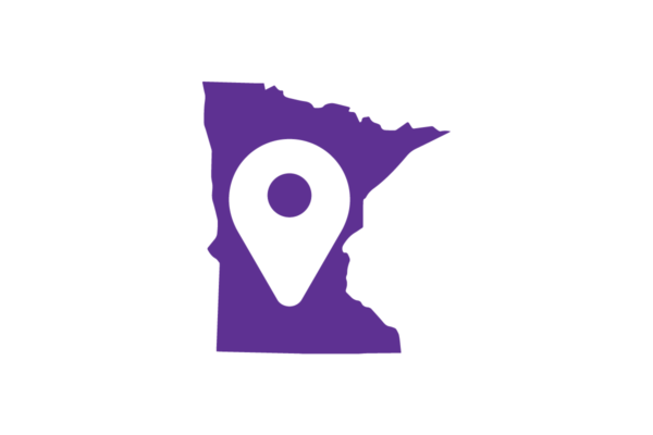 State of Minnesota with map pin inside it.